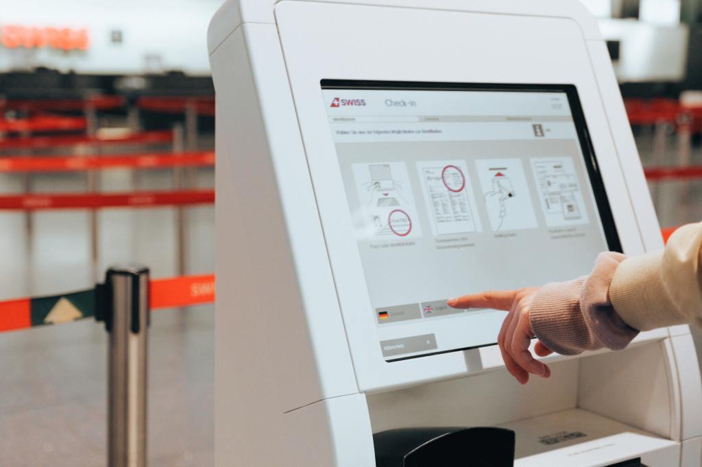 girl traveler printing boarding pass
